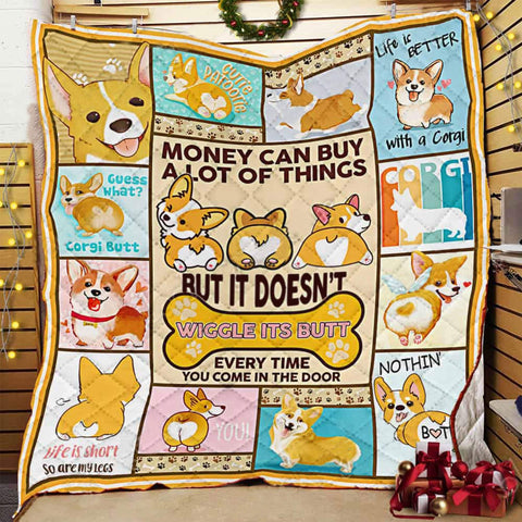 Corgi Quilt- Corgi Pattern Quilt Blanket, Corgi Butt Gifts, Corgi Owner Gifts, Gifts for Corgi Lovers- Pet Lovers-Moon & Back