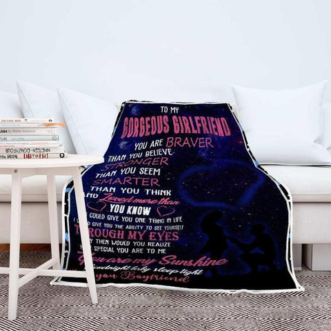 Couple's Anniversary Custom Blanket - To My Gorgeous Girlfriend - Valentines Day - Birthday Anniversary Couple Romantic Gift-Moon & Back