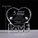 Crystal Glass Heart Shape Anniversary Souvenir-Moon & Back-Moon & Back