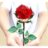 Crystal Glass Rose in Gift Box-Moon & Back-red-Without crystal base-Moon & Back