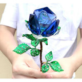 Crystal Glass Rose in Gift Box-Moon & Back-blue-With Crystal base-Moon & Back