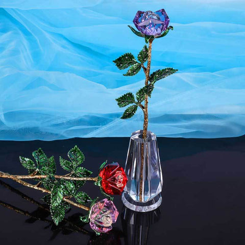 Crystal Glass Rose in Gift Box-Moon & Back-purple-with crystal base-Moon & Back