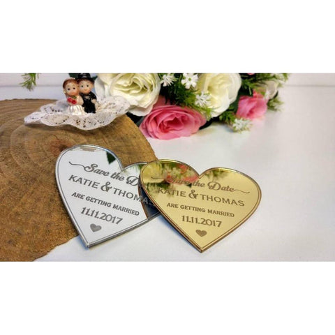 Custom Heart Shape Mirror Save the Date magnet-Moon & Back-10 pcs-with card-Moon & Back