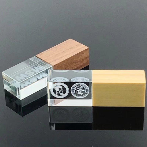 Custom Logo Crystal -Wooden USB 2.0 Pen Drive-Moon & Back-2GB-maple-Moon & Back