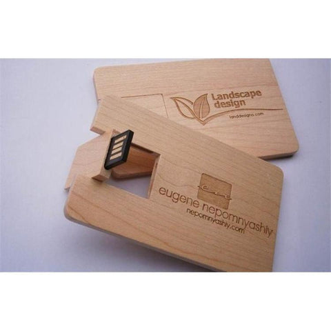 Custom LOGO Wooden Card USB Flash Drive-Moon & Back-Carbonized-128MB-Moon & Back