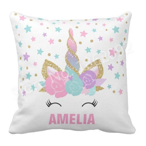 Custom Name Baby Birthday Unicorn Pillow Cover-Moon & Back-Moon & Back