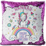 "Custom Name Baby Birthday Unicorn Sequin Pillow Cover-Moon & Back-15"" x 15""-purple-Moon & Back"