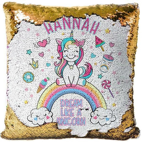 "Custom Name Baby Birthday Unicorn Sequin Pillow Cover-Moon & Back-15"" x 15""-new gold-Moon & Back"