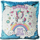 "Custom Name Baby Birthday Unicorn Sequin Pillow Cover-Moon & Back-15"" x 15""-blue-Moon & Back"