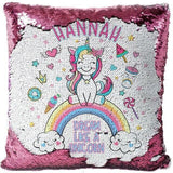 "Custom Name Baby Birthday Unicorn Sequin Pillow Cover-Moon & Back-15"" x 15""-pink-Moon & Back"