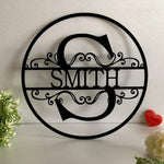 Custom Personalized Family Last Name Door Signs-Moon & Back-Black-13.78 Inch (35 cm)-Moon & Back