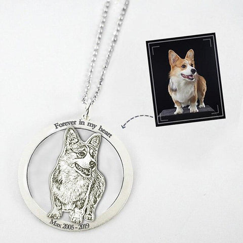 Custom Pet Keychain Photo Necklace-Moon & Back-Silver Necklace-Moon & Back