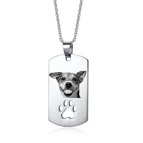 Custom Pet Photo/Text Engraved Necklace-Moon & Back-Photo-50cm-Moon & Back