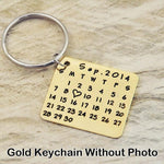 Custom Photo and Calendar Key Chain-Moon & Back-Gold Calendar-Moon & Back