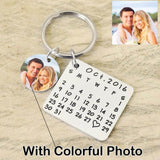 Custom Photo and Calendar Key Chain-Moon & Back-Colorful Photo with Silver Calendar-Moon & Back