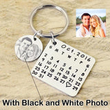 Custom Photo and Calendar Key Chain-Moon & Back-Sketch Photo with Silver Calendar-Moon & Back