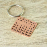 Custom Photo and Calendar Key Chain-Moon & Back-Rose Gold Calendar-Moon & Back