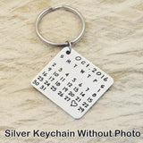 Custom Photo and Calendar Key Chain-Moon & Back-Silver Calendar-Moon & Back