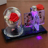 Custom Photo Crystal Flower Gift with Light-Moon & Back-Red flower-4x6cm photo (1.57x2.36inch)-Moon & Back