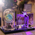 Custom Photo Crystal Flower Gift with Light-Moon & Back-Blue flower-4x6cm photo (1.57x2.36inch)-Moon & Back