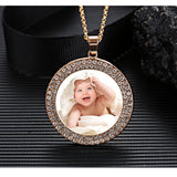Custom Photo Diamond Necklace-Moon & Back-Silver-Moon & Back