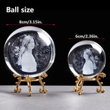 Custom Photo Engraved Crystal Glass Globe-Moon & Back-6 cm (2.36 in)-Gold Base-Moon & Back