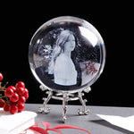 Custom Photo Engraved Crystal Glass Globe-Moon & Back-6 cm (2.36 in)-Silver Base-Moon & Back