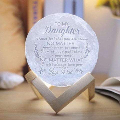 Custom Photo Moon Lamp - Dad to Daughter - No Matter What, I Will Always Love You (15 cm)-Moon & Back-Moon & Back