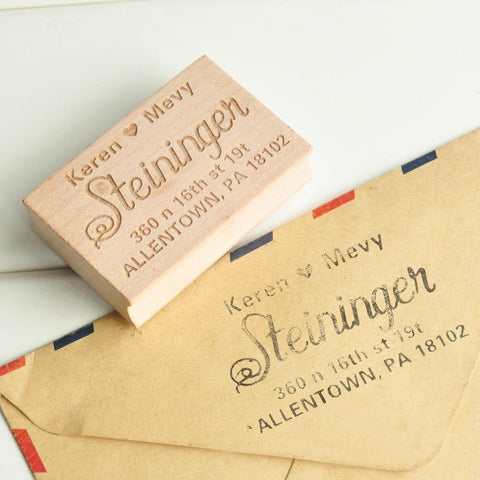 Custom Wedding Invitation return address Stamp-Moon & Back-Moon & Back