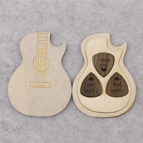 Customized 3pcs Wooden Guitar Pick Box Holder Guitar Shape -3 Paddles-Moon & Back