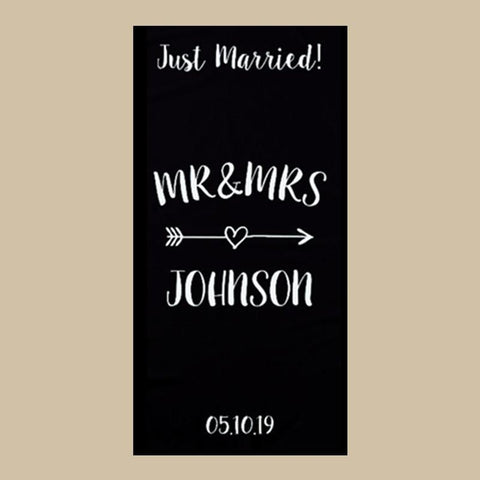 Customized Black White Just married Mr and Mrs Beach Towel-Moon & Back-Black Custom Name-27.55x55.12 Inch (70x140cm)-Moon & Back