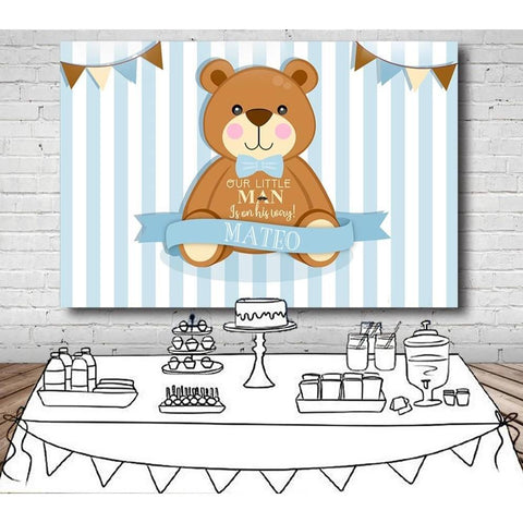 Customized Brown Bear Baby Shower Backdrop-Moon & Back-Moon & Back