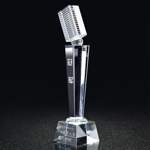 Customized Crystal Music Voice Cup Microphone Trophy-Moon & Back-Moon & Back