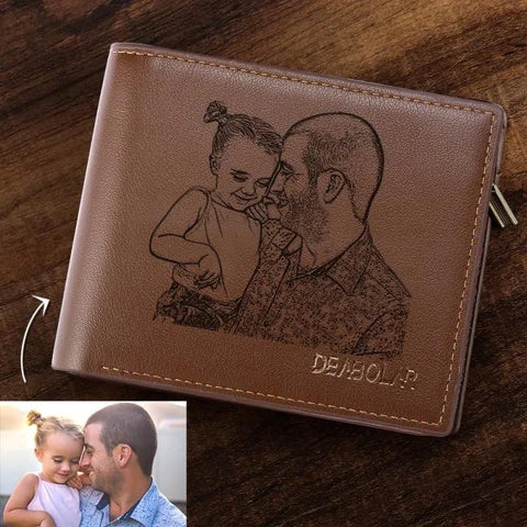 Customized Engraved Photo Leather Wallet-Moon & Back-Moon & Back