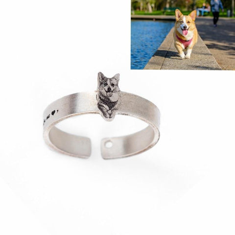 Customized Pet Rings for Pet Lovers (.990 Sterling Silver)-Moon & Back-6.5-Moon & Back