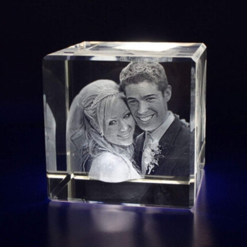 Customized Photo 2D/3D Engraved Cube Crystal, FREE SHIPPING - Gift for Pets, Couples, Anniversary, Wedding, Family, Photo Gifts-Moon & Back