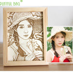 Customized Photo Engraved Wood Gift-Moon & Back-8inch ( 20.32 CM )-Moon & Back