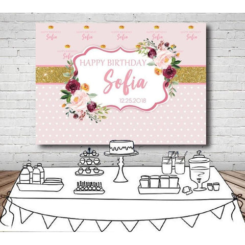 Customized Pink Floral Birthday Backdrop-Moon & Back-100x70cm (4x2ft)-Moon & Back