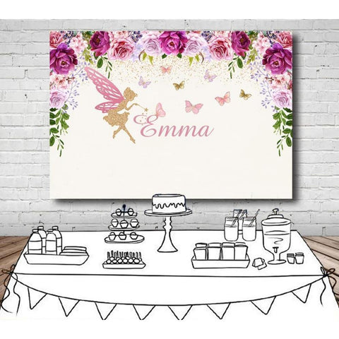 Customized Purple Flowers & Fairy Birthday Backdrop-Moon & Back-Vinyl 150x90cm (5x3ft)-Moon & Back