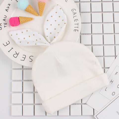 Customized Rabbit Ears Polkadots Newborn Baby Hat-Moon & Back-White Polka Rabbit-Name Only-Moon & Back