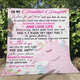 Customized To My Beautiful Daughter Believe In Yourself Unicorn Blanket - Birthday - Girl Gift - Cute - Personalized - DG5360-Moon & Back