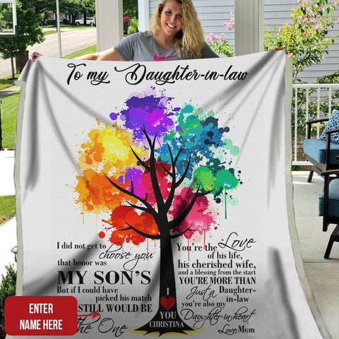 To My Daughter-in-Law Blanket, Daughter-in-Law Blanket, Daughter in Law Gifts, for Birthday Christmas Gift-Moon & Back-Small (30x40)-Moon & Back