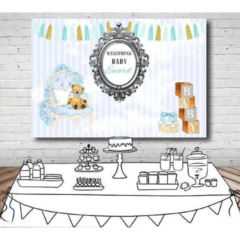 Customized Welcoming Baby Shower Backdrop-Moon & Back-100x70cm (4x2ft)-Moon & Back
