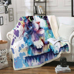 Lovely Cat Sherpa Blanket-Moon & Back-111-29in x 39in (73.7cm x 99.1cm)-Moon & Back