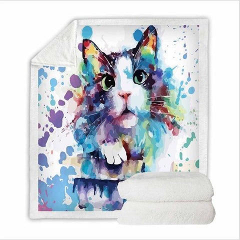 Lovely Cat Sherpa Blanket-Moon & Back-111-60in x 80in (152.4cm x 203.2cm)-Moon & Back