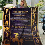 Dad & Daughter Blanket, Blanket for Dad, Blankets for Fathers, Fathers Day Gift, Gift for Dad -VK1052-Moon & Back