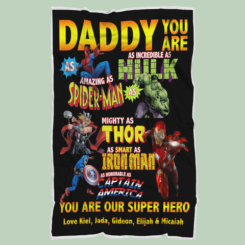 Daddy You Are Our Super Hero Blanket - Fathers' Day Gift, Super Hero Daddy Blanket, Superdad Blanket, Blanket for Dad - RH2716-Moon & Back