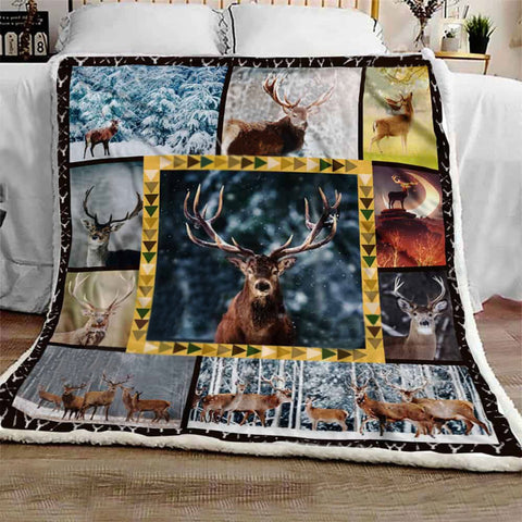 Deer Pattern Blanket, Deer Blankets, Gift for Deer Lovers - Nature Lovers Gift- Outdoor Lovers Gift-Moon & Back