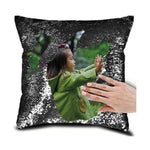 "DIY Customized Photo Mermaid Sequin Throw Pillow-Moon & Back-15"" x 15""-Black-Moon & Back"