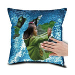 "DIY Customized Photo Mermaid Sequin Throw Pillow-Moon & Back-15"" x 15""-Blue-Moon & Back"